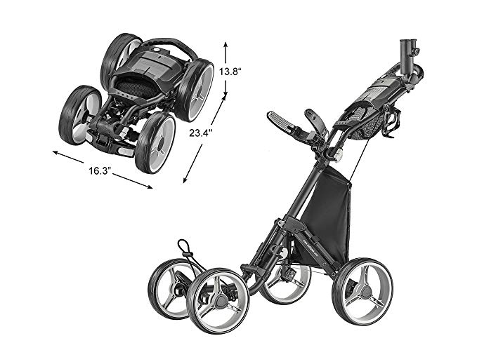 CaddyTek Explorer V8 - Superlite 4 Wheel Push Cart, Explorer Version 8