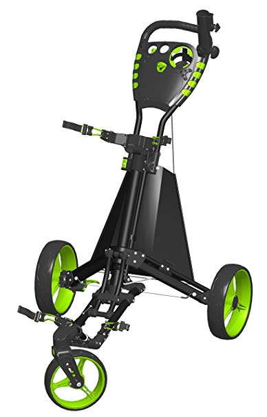 Spin It Golf Products Easy Drive Golf Push Cart- Black-Green