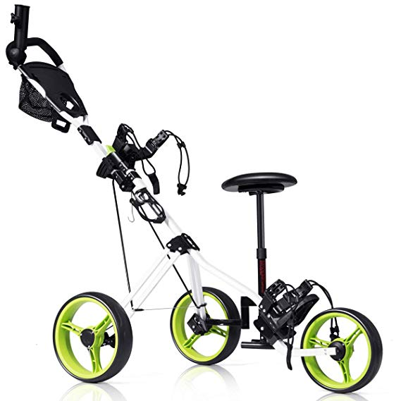 Tangkula Cart Swivel Foldable 3 Wheel Push Pull Cart, Golf Trolley with Seat Scoreboard Bag