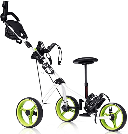Tangkula Deluxe Steel Golf Push Cart