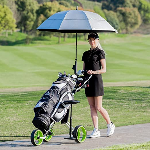 Tangkula Golf PushCart Swivel Foldable 3 Wheel Push Pull Cart Golf Trolley with Seat Scoreboard Bag Golf Push Cart